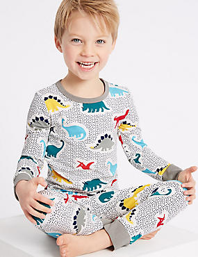 Printed Pyjamas with Stretch (1-7 Years), GREY MARL, catlanding