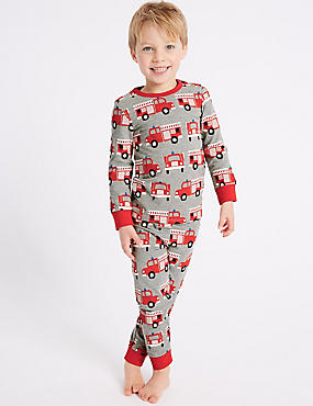 Printed Pyjamas (1-7 Years), GREY MIX, catlanding