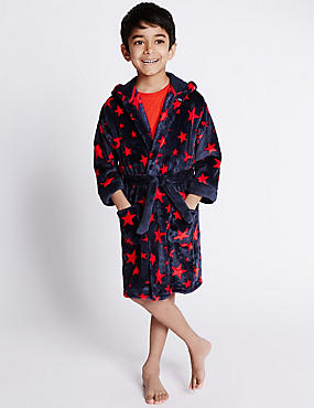 Anti Bobble Hooded Star Print Dressing Gown (1-8 Years)