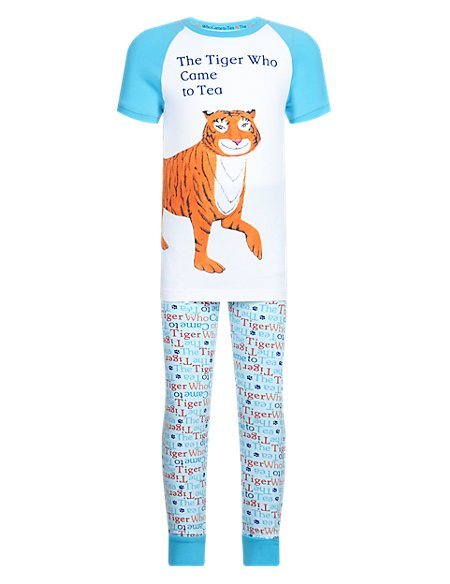 Cotton Rich 'Tiger Who Came to Tea' Slogan Pyjamas (1-7 Years)