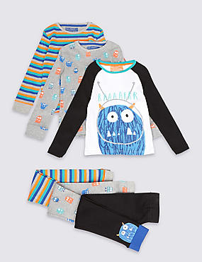 3 Pack Pure Cotton Monster Face Pyjamas (1-8 Years)