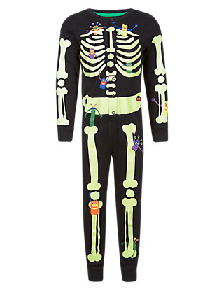 Pure Cotton Skeleton & Monster Glow in Dark Onesie (1-7 Years) Clothing
