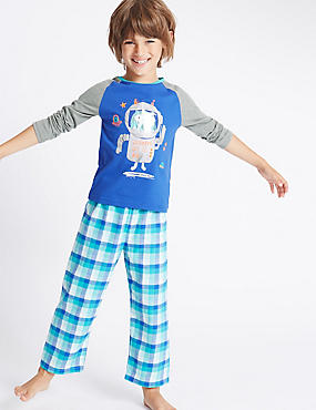 Robot Checked Pyjamas (1-8 Years)