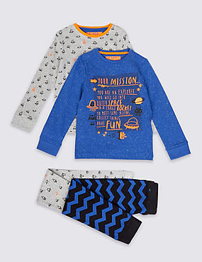 2 Pack Cotton Rich Space Mission Pyjamas (1-8 Years)