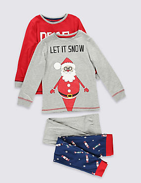 2 Pack Long Sleeve Santa Pyjamas (1-8 Years)