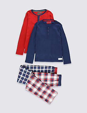 2 Pack Pure Cotton Long Sleeve Pyjamas (1-16 Years)