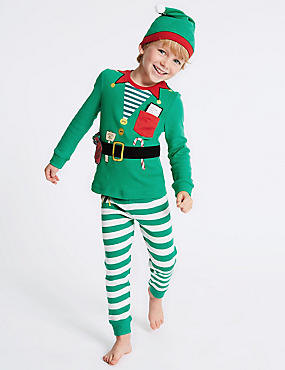 Pure Cotton Elf Pyjamas with Hat (9 Months - 8 Years)