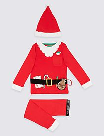Pure Cotton Santa Dress Up Pyjamas (9 Months - 8 Years)