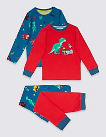 2 Pack Dinosaur Print Cotton Pyjamas with Stretch (9 Months - 8 Years)