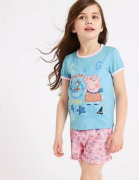 Peppa Pig™ Pure Cotton Short Pyjamas (1-7 Years), BLUE MIX, catlanding
