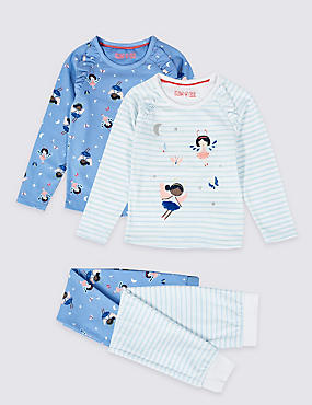 2 Pack Cotton Pyjamas with Stretch (1-7 Years), CORNFLOWER, catlanding