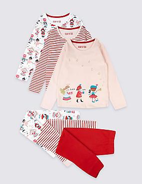 3 Pack Cotton Pyjamas with Stretch (1-7 Years), RASPBERRY, catlanding