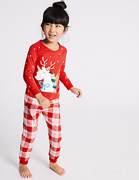 Pure Cotton Unicorn Pyjamas (1-7 Years), RASPBERRY, catlanding