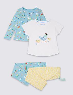 2 Pack Pure Cotton Pyjamas (1-7 Years), LIGHT BLUE MIX, catlanding