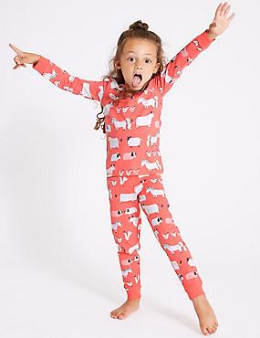 Cotton Pyjamas with Stretch (1-7 Years), ORANGE FIZZ, catlanding