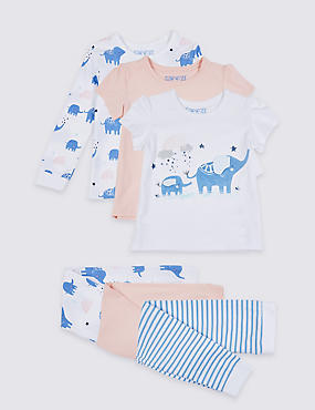 3 Pack Cotton Pyjamas with Stretch (1-7 Years), FRESH BLUE, catlanding