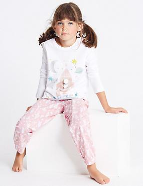 Pure Cotton Animal Rocket Pyjamas (1-7 Years), PALE ROSE, catlanding