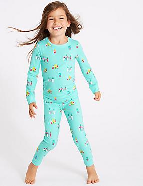 Cotton Pyjamas with Stretch (1-7 Years), MULTI, catlanding