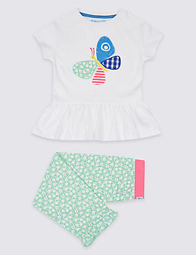 Pure Cotton Frill Hem Pyjamas (1-7 Years)