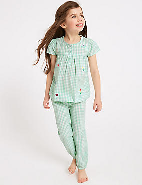 Gingham Pure Cotton Pyjamas (1-7 Years)