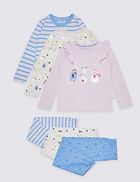 3 Pack Pure Cotton Pyjamas (1-7 Years), MULTI, catlanding