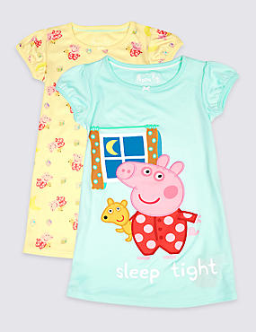 2 Pack Peppa Pig™ Nightdresses (18 Months - 7 Years), YELLOW MIX, catlanding