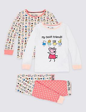 2 Pack Cotton Rich Peppa Pig™ Pyjamas (1-7 Years)