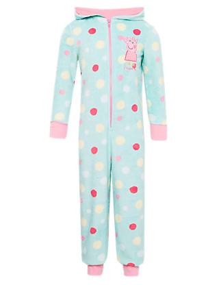 Peppa Pig™ Hooded Spotted Fleece Onesie with StayNEW™ (1-7 Years) Clothing