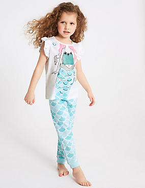 Cotton Mermaid Print Pyjamas (1-7 Years)