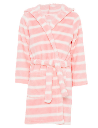 Hooded Striped Dressing Gown with StayNEW™ Clothing