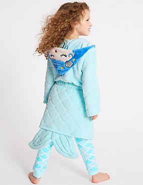 Mermaid Dressing Gown (18 Months - 7 Years), BRIGHT MINT, catlanding