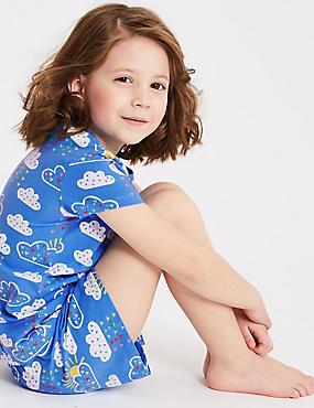 Printed Pyjamas with Stretch (1-7 Years), CORNFLOWER, catlanding