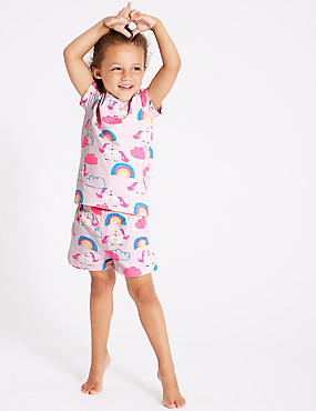 Cotton Short Pyjamas with Stretch (1-7 Years), PINK, catlanding