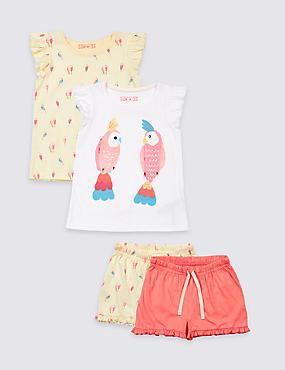 2 Pack Pure Cotton Pyjamas (1-7 Years), LIGHT CORAL, catlanding