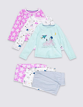 3 Pack Pure Cotton Spaceship Pyjamas (1-8 Years)