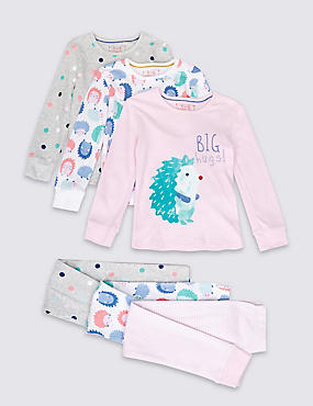 3 Pack Pure Cotton Hedgehog Pyjamas (1-8 Years)