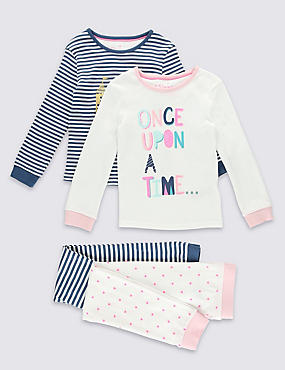 2 Pack Pure Cotton Long Sleeve Pyjamas (1-8 Years)