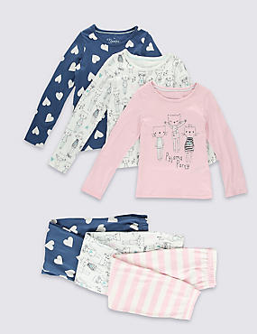 3 Pack Pure Cotton Pyjamas (1-8 Years)