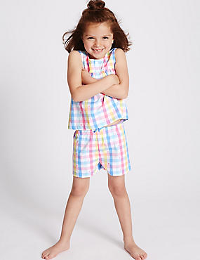 Pure Cotton Checked Short Pyjamas (9 Months - 8 Years)