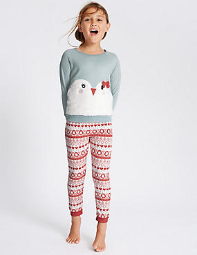 Fleece Penguin Appliqué Pyjamas (1-8 Years)