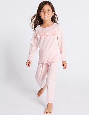 Cotton Rich Ruffle Pyjamas (9 Months - 8 Years), PINK MIX, catlanding