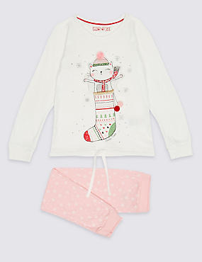 Pure Cotton Cat Stocking Pyjamas (9 Months - 8 Years)