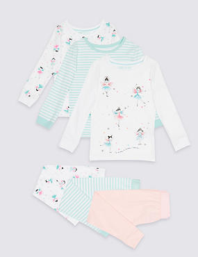 3 Pack Cotton Pyjamas with Stretch (9 Months - 8 Years)
