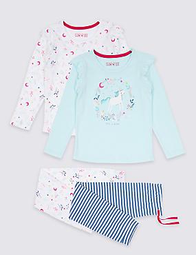 2 Pack Unicorn Bear Pyjamas (9 Months - 8 Years), BLUE MIX, catlanding