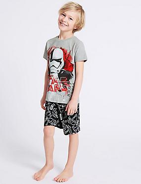 Star Wars™ Pure Cotton Short Pyjamas (5-14 Years), GREY MIX, catlanding