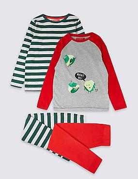 2 Pack Cotton Rich Pyjamas (3-16 Years), RED, catlanding