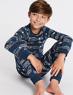Cotton Pyjamas with Stretch (3-16 Years), INDIGO, catlanding