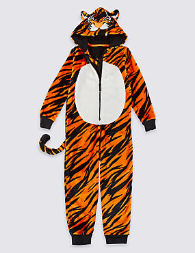 Tiger Fleece Onesie (1-16 Years), ORANGE, catlanding