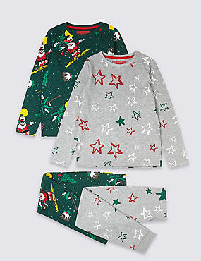 2 Pack Santa Pyjamas (3-16 Years), DARK GREEN, catlanding