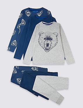 3 Pack Cotton Bear Pyjamas (3-16 Years), INDIGO, catlanding